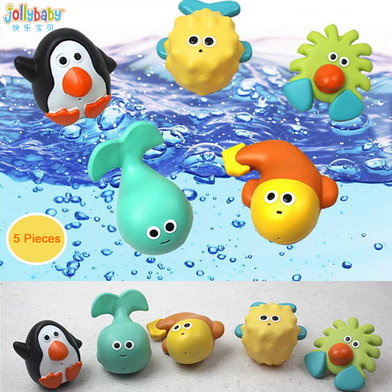 Puzzled Whale Water Squirter Rubber Bath Toy 3 Inch Adorable Floating Animal Sq
