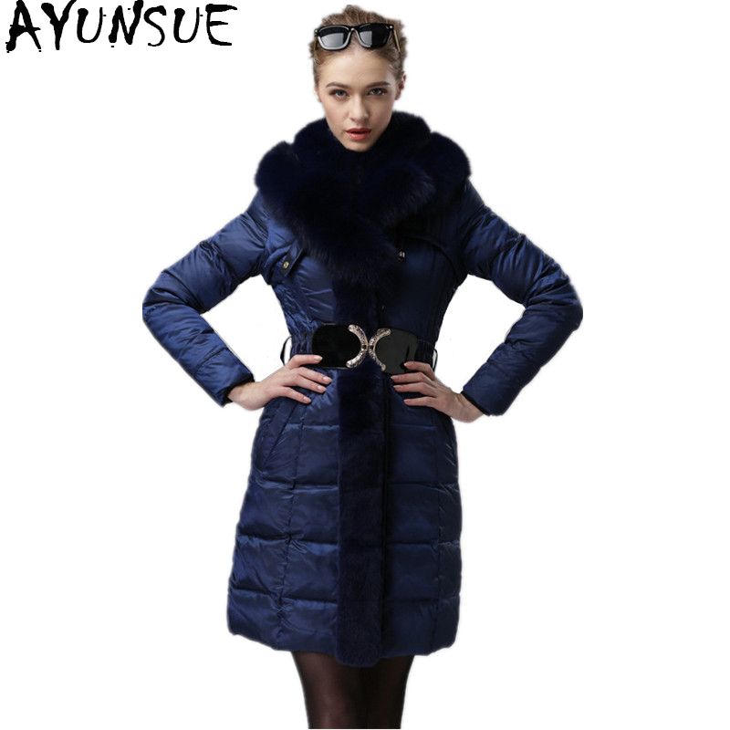 AYUNSUE Winter Warm Down Jacket Women Long Coat Female Real Fox Fur Collar Hooded Parka Slim Coats Plus Size 4XL Outwear WYQ750 vichy пена для бритья для чувствительной кожи vichy homme склонной к покраснению 200 мл