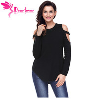 Dear Lover Knitwear Women Pullover Autumn Black Strappy Cold Shoulder Textured Slim Sweater Top Casual Jumper