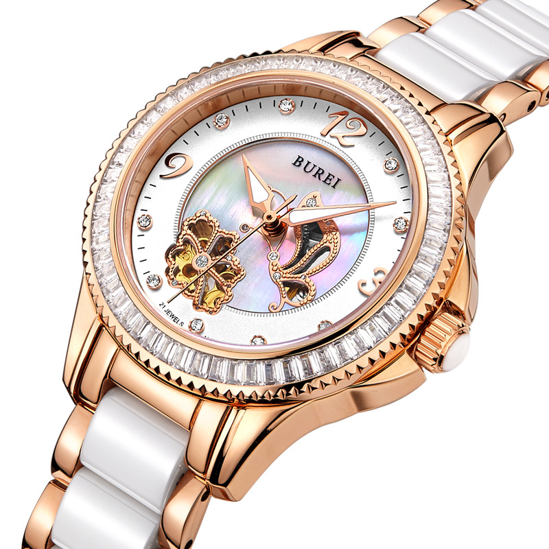 BUREI Luxury Crystal Sapphire Ladies Ceramic Band Automatic Mechanical Watch Waterproof Wristwatches With Premiums Package 15022