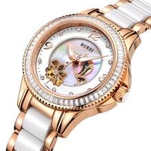 Burei роскошные сапфировое стекло дамы керамическая группа автоматические механические часы водонепроницаемые наручные часы с премиями пакет 15022