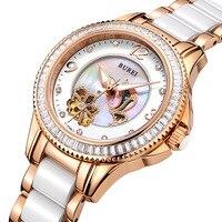 Burei luxus kristall saphir damen keramik band automatische mechanische uhr wasserdichte armbanduhren mit prämien paket 15022
