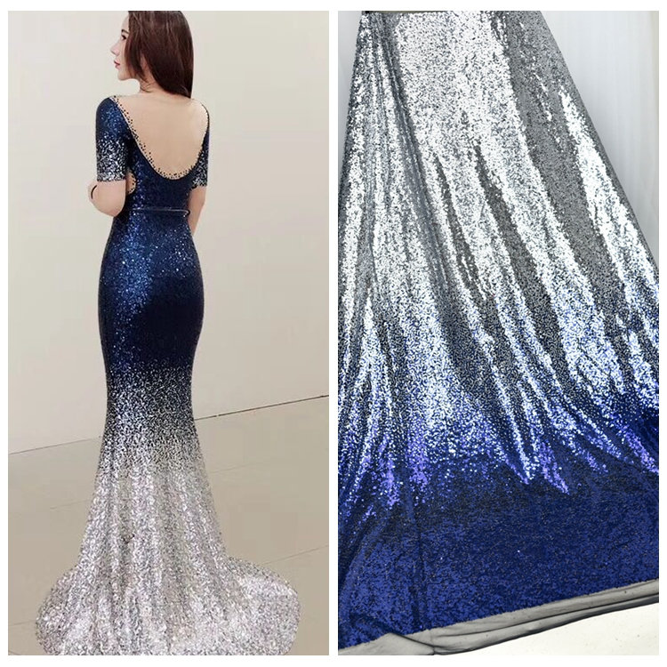 1 Yard 130cm Wide Sequins Gradient Color Lace Fabric DIY Dress Wedding Fabric