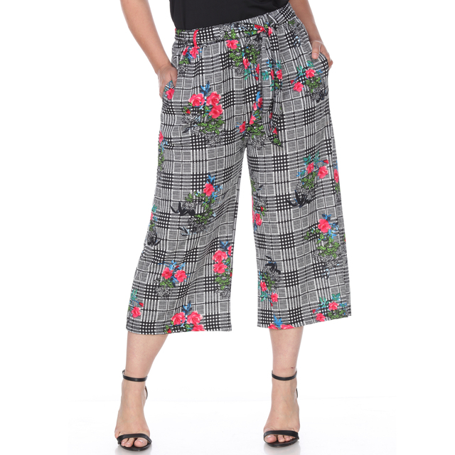 b0e41858623f0 Plus Size Gaucho Pants Blue Pink Flower-in Pants   Capris from ...