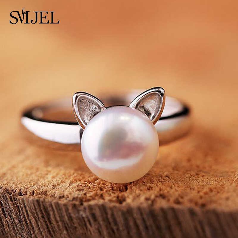 SMJEL New Imitation Pearl Cat Ear Ring for Women Cute Animal Adjustable Ring Femme Bijoux Jewelry Birthday Gifts SYJZ140