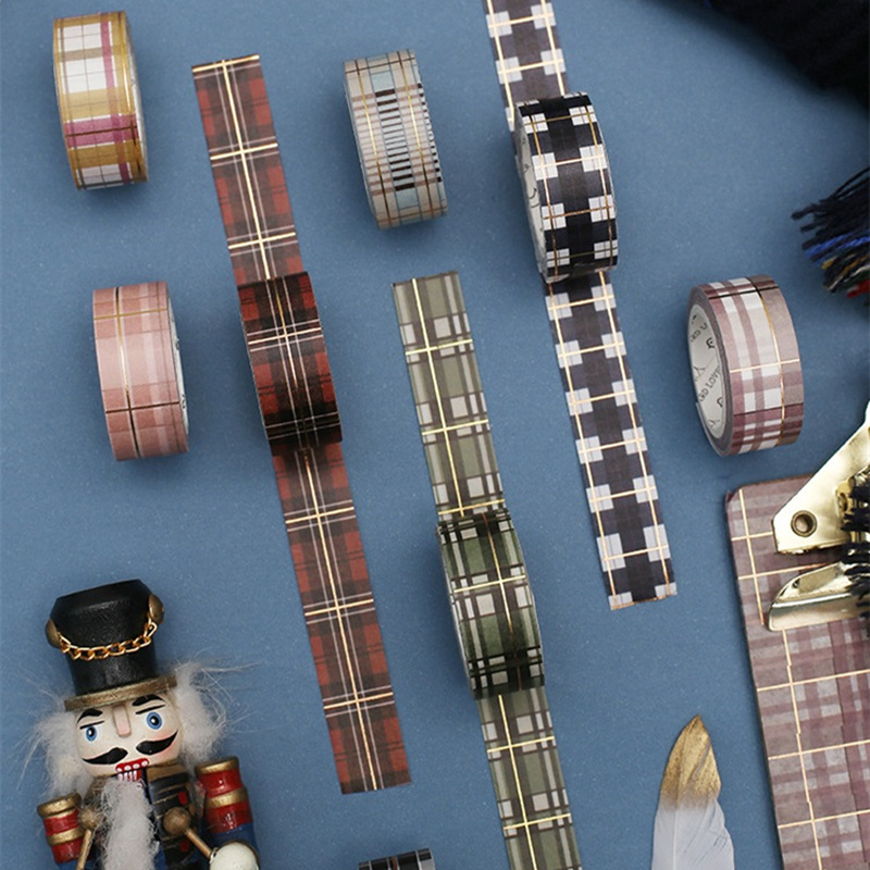 JUKUAI 8 Pcs Scottish Plaid Washi Tape Set Vintage Gold Glitter Decorative Masking Tapes Sticker Scrapbooking DIY Stationery