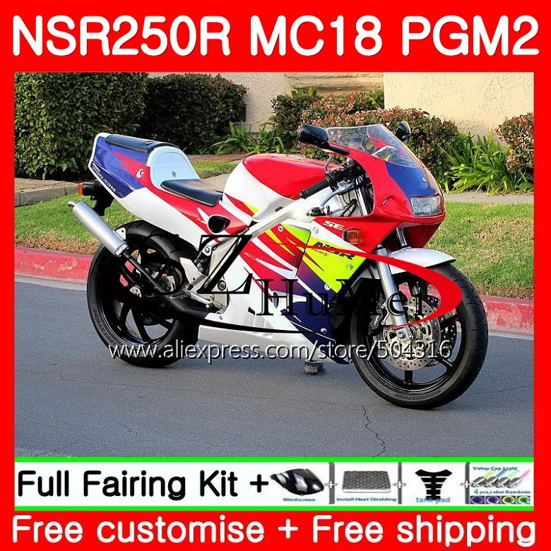 MC18 For HONDA PGM2 NSR250 <font><b>NSR</b></font> <font><b>250</b></font> R NSR250R 88 89 124SH.18 MC16 <font><b>NSR</b></font> 250R NS250 RR Red white NSR250RR 1988 1989 88 89 Fairing image