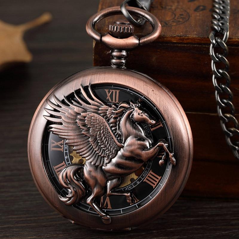 Preto com Asa do Vintage Mecânica do Vento Relógio de Bolso Cavalo Retro Homens Steampunk Relógio Cadeia Pingente Algarismos Romanos Oco Mão