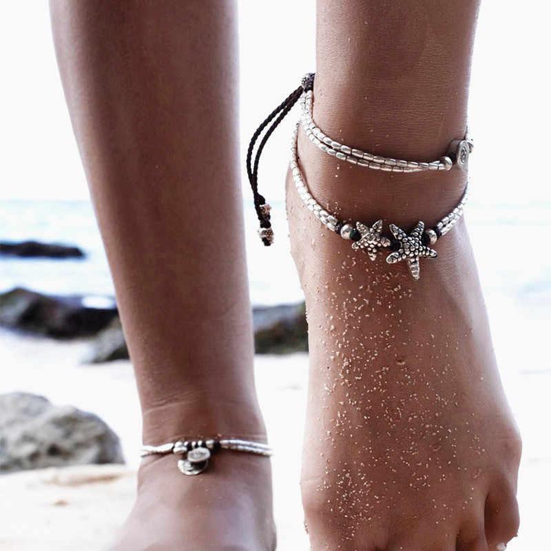 """Продажа Модные Ретро богемные круглые руны ножной браслет """"Морская звезда"""" пляжные украшения для ног простые бусины ножной браслет для женщин Подарки для девочек"""