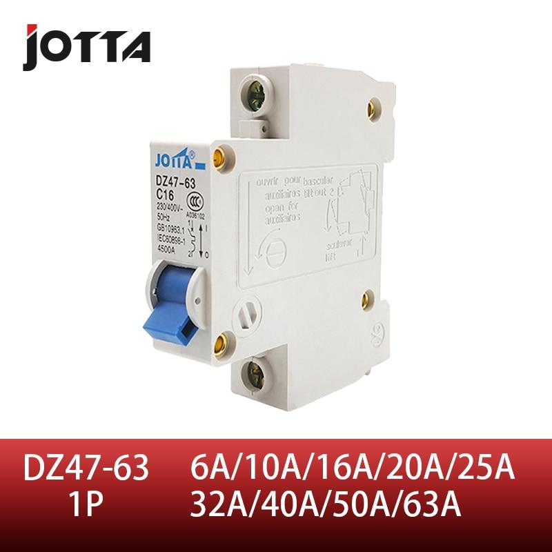 DZ47-63 C45N 1 Pole 6A/10A/16A/20A/25A/32A/40A/50A/63A C Type Mini Circuit Breaker Mcb