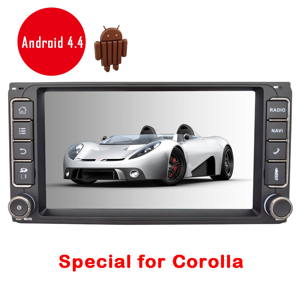 Android 4.4 Car Radio Video In Dash 1080P WiFi FM 7 Auto APP RDS GPS Stereo Navigation No-DVD Bluetooth For Toyota Corolla