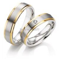 США Размер 5 до 13 роскошные классические ручной работы золотое покрытие инкрустация чистого здоровья Титан обручальные кольца пар для люби