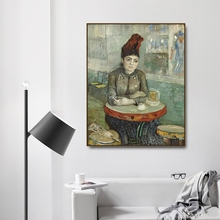 In the café by Vincent Von Gogh Poster Print Canvas Painting Calligraphy Home Decor Wall Art Pictures for Living Room Bedroom