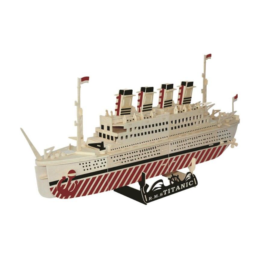 Chanycore bébé apprentissage jouets éducatifs en bois Puzzle 3D avion hélicoptère transporteur navires de guerre bateau de croisière enfants cadeaux 4302 - 3