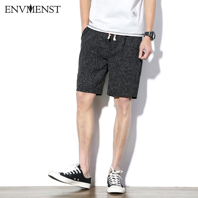 Envmenst 2017 Mens High Quality Cotton Shorts Summer Men Flax Shorts Drawstring Casual Beach Shorts Breeches for Men