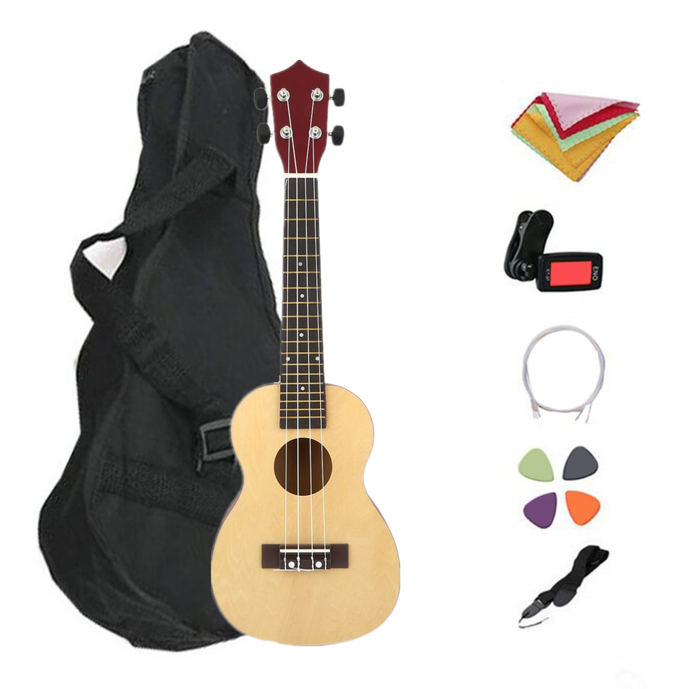TSAI 7 pièces/ensemble 21 23 pouces ukulélé professionnel en bois Style hawaï Basswood 4 cordes Ukelele Instrument de musique pour les débutants