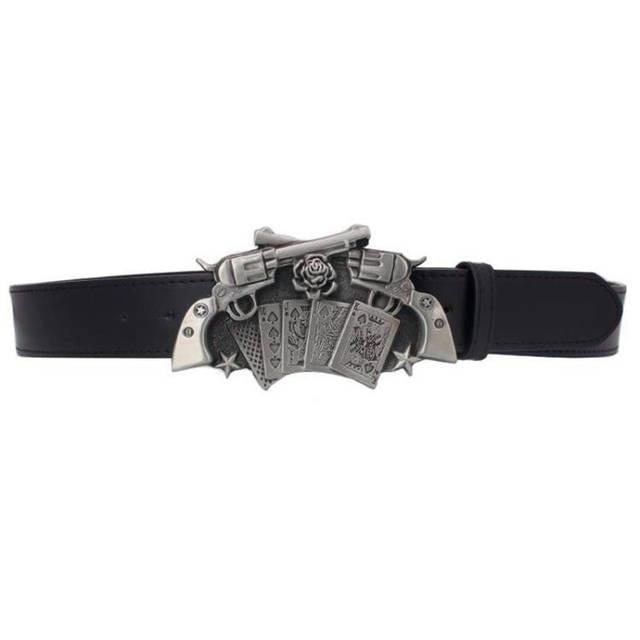placeholder Personality Gun Rose buckle belt punk rock style men s Leather  belt Wild western style Hip- e37d0def106