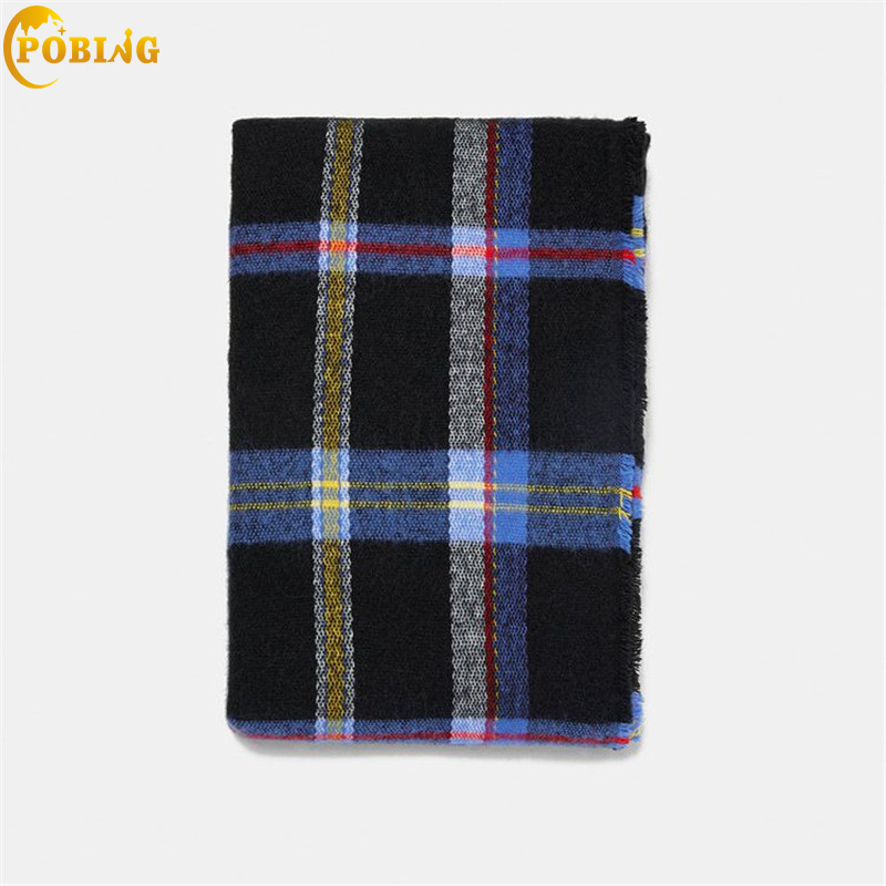 POBING Luxury za Brand Plaid Cashmere   Scarf   Women Basic   Scarves     Wraps   Soft Shawls Warm Winter Blanket Pashmina Lady Cape Stoles