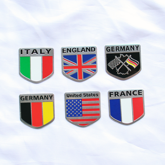 3d Metal Usa Uk Gremany France Italy National Flag Car Stickers For