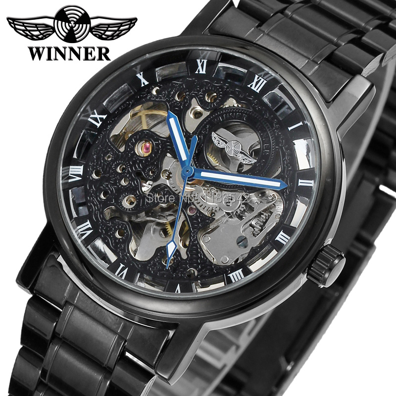 Super Stylish Gift Skeleton Alloy Case Stainless Steel Black Bracelet Relogio WINNER men s sports watch