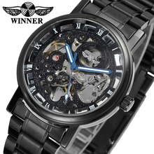 Regalo Super Elegante Esqueleto de Aleación Caja de Acero Inoxidable Negro Pulsera Relogio GANADOR hombres reloj deportivo/WRG8028M4B2