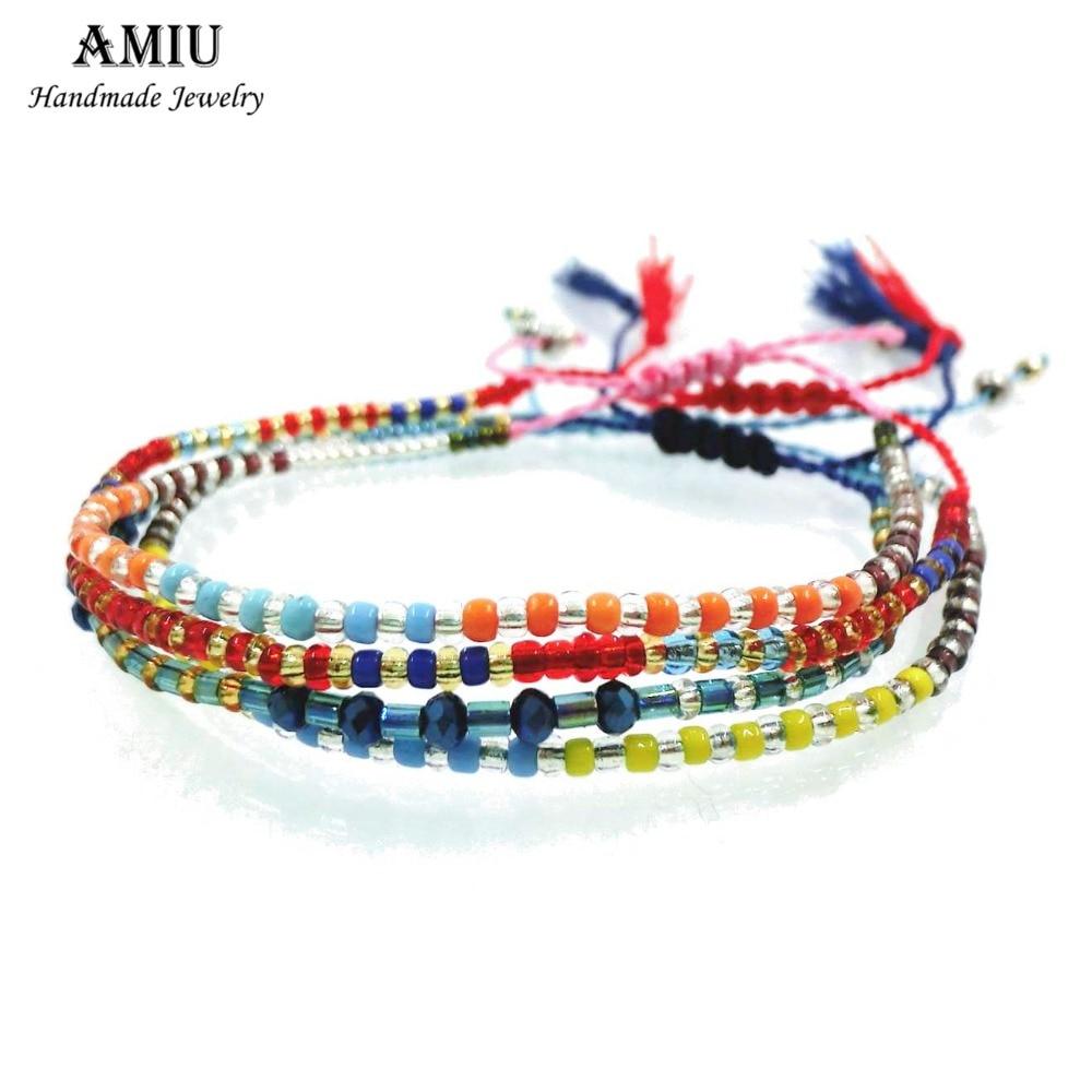 AMIU 2019 kézzel készített barátság karkötő Hippi színes maggyöngyök Charm szerelem divatos karkötő nők férfiak dropshipping karkötő