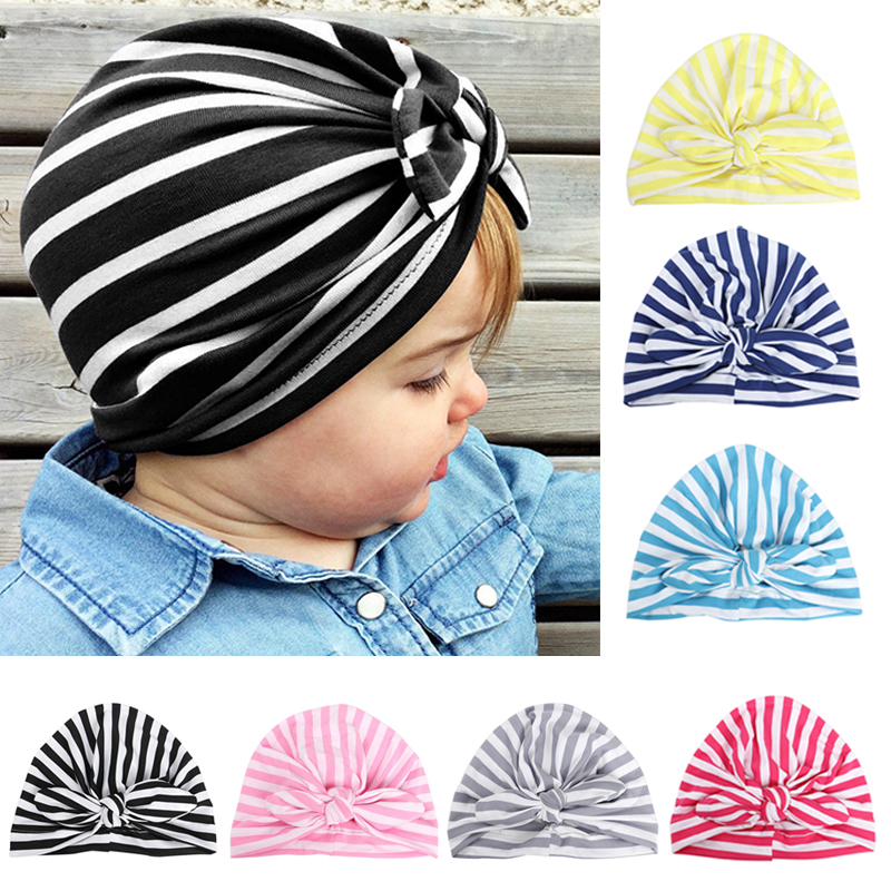 baby cute lovely Soft Knot Stripe Rabbit Ears Sleeve Cap Indian Flower Hat Baby Hats for Baby Girls ...