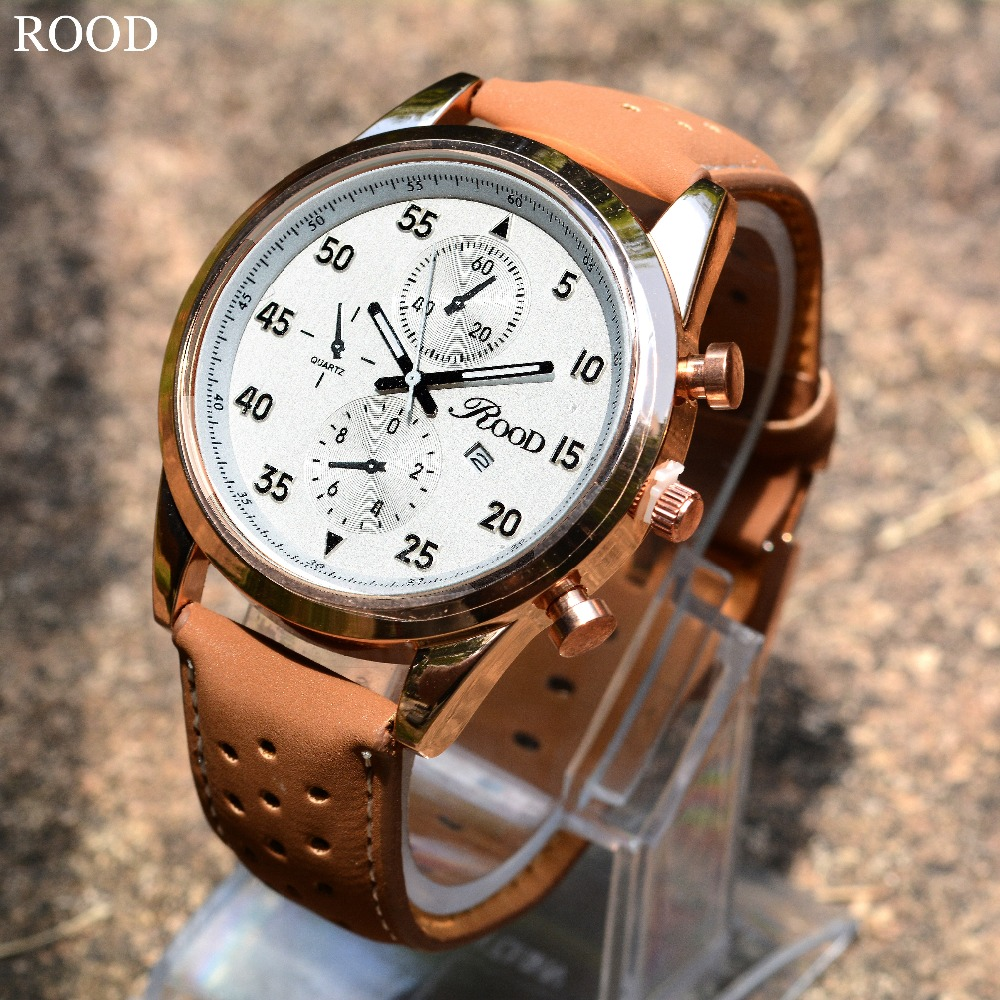 Mens Watches Sports Leather Strap Quartz Watch Waterproof Man Rood Brand Clock Male Wristwatches Quartz Watch
