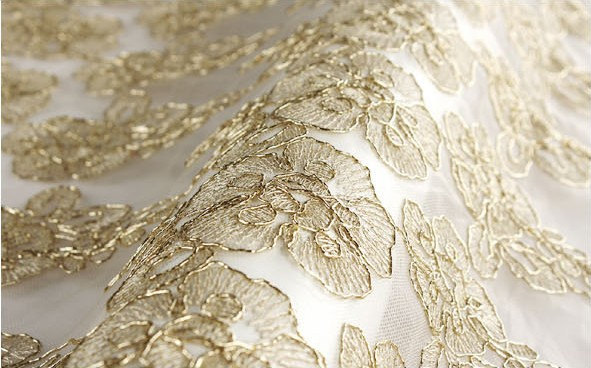 Gold Lace Fabric Scalloped Bridal Lace Fabric Wedding
