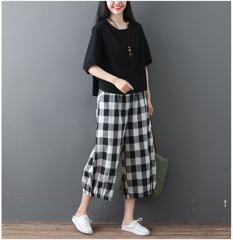 2019 Cotton Linen Two Piece Sets Women Plus Size Half Sleeve Tops And Wide Leg Cropped Pants Casual Vintage Women's Sets Suits 67
