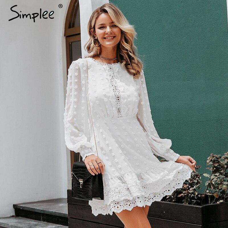 Simpleeセクシーな白いシフォンドレス女性ロングランタンスリーブレースドレスドット女性高級スリムイブニングパーティードレスvestidosバレエドレス少し創造的な工場