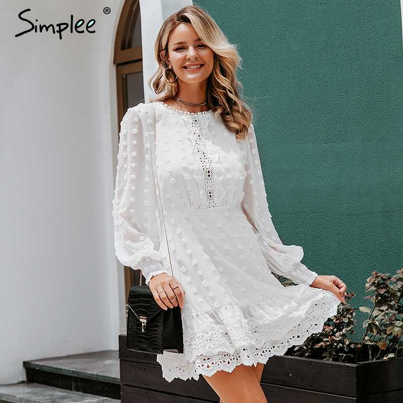 Simplee Sexy white chiffon dress women Long lantern sleeve lace dresses dots female  Luxury slim evening party dress vestidos