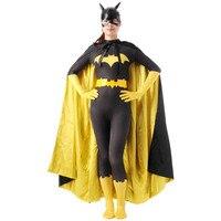 Черный бэтмен костюм женщины взрослых batgirl косплей хэллоуин костюмы для женщин сексуальный супергерой боди зентаи маска мыс на заказ