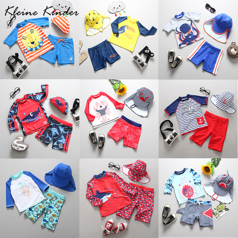 2019 Cute Boys Swimsuit 3 Pieces Suits Shark Print With Cap Kids Swimwear Separate Bathing Suit Beach Wear For 1-9 Years Old Boy