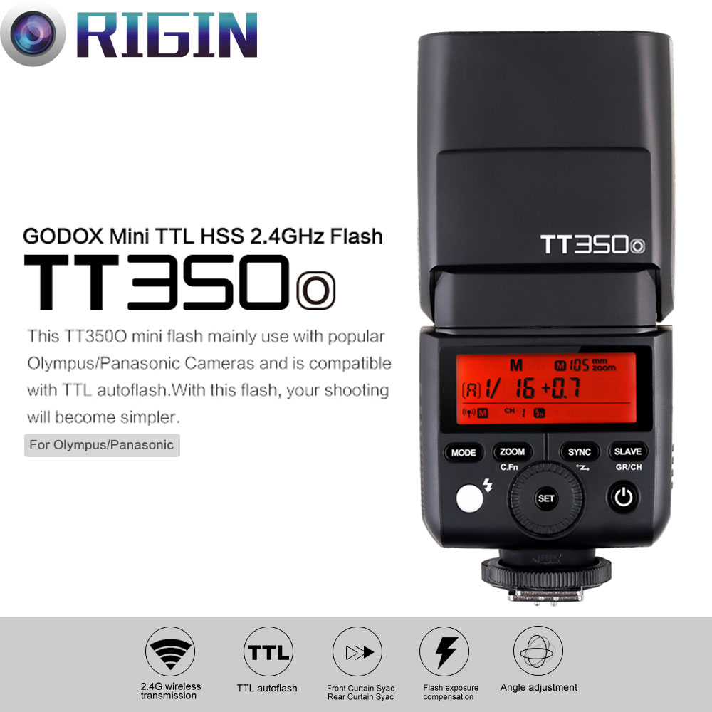 New Arrival Godox Mini Thinklite TTL TT350O Camera Flash High Speed 1/8000s GN36 For Olympus/Panasonic Mirrorless Digital Camera godox mini thinklite i ttl tt350n camera flash high speed 1 8000s gn36 for nikon digital camera