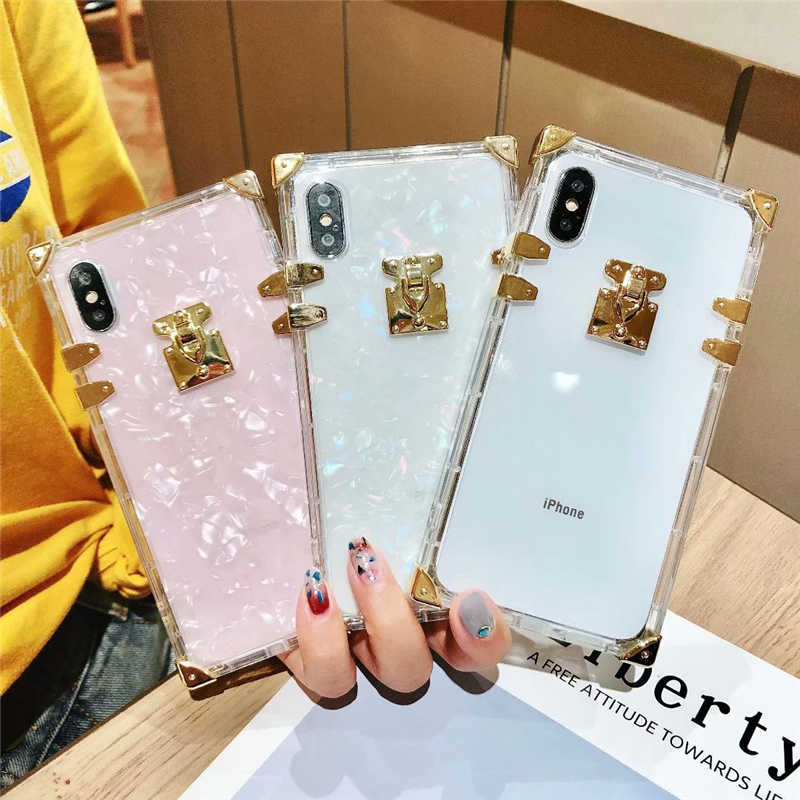 new product 7efb7 ae928 Luxury Transparent Phone Case For iPhone X XS Max XR Trunk Square Women  Silicon Phone Case For iPhone 6 6s 7 8 Plus Clear Cover