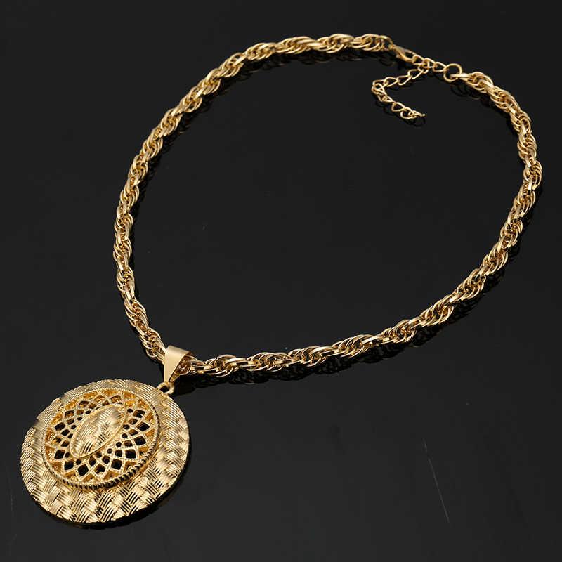 סיטונאי אופנה כלה ניגרית סטי תכשיטי חרוזים אפריקאים תכשיטים מגדיר צבע זהב טהור-דובאי תלבושות עיצוב ארוך רומנטי