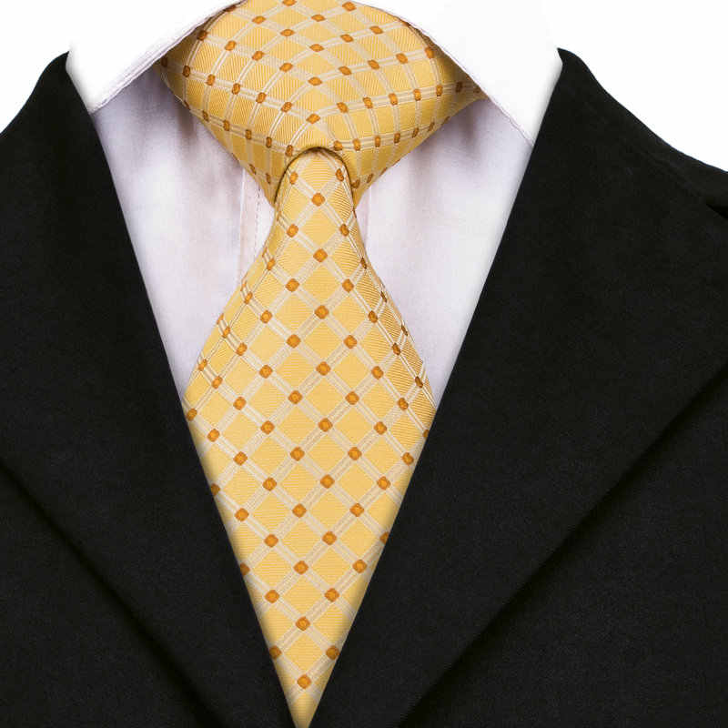 SN-437 קיץ טרי צהוב משובץ ורוד דוט עניבת ממחטת חפתים סטי הגברים משי עבור פורמליות חתונה מסיבת Freeshipping