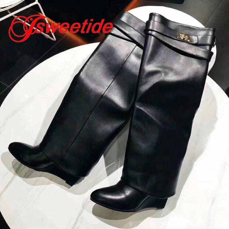 Pour Femmes Femme Classique Le En A1 Genou Boucle Automne Mode Marque Compensées Sur Métal De Cuir b1 Bottes Sangle Chaussures Moto Nouvelle BAx6ZnwZ
