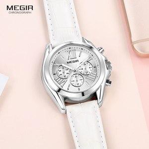 Image 2 - MEGIR2019 Neue Luxus Leder Uhr Frauen Weibliche Top Marke Chronograph Quarz Armbanduhr Dame Relogios Femininos Uhr 2114 Weiß
