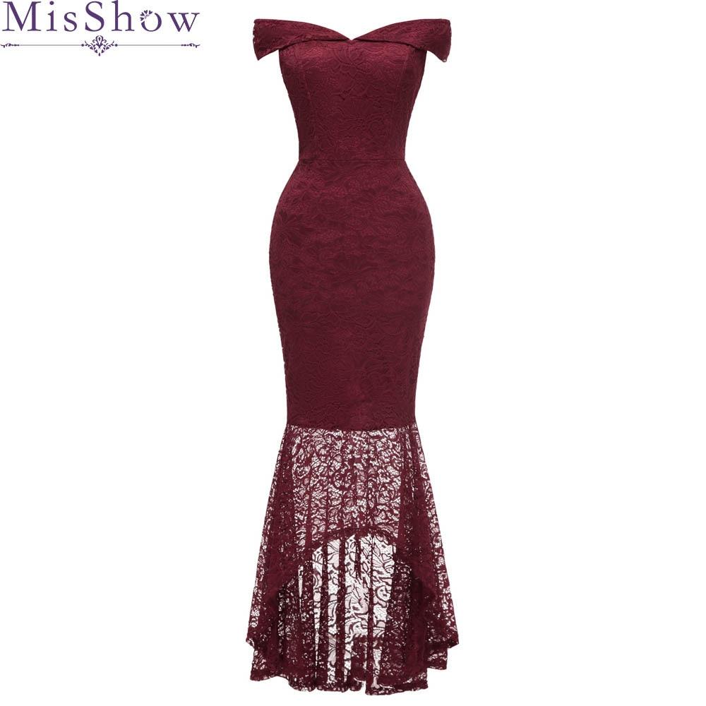 2019 Mermaid Long Back Short Front   evening     dress   Burgundy Lace prom party   dresses   high low vestidos de festa Bodycon Slime   Dress