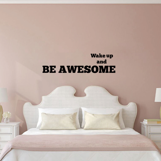 inspirational slaapkamer muurstickers wake up en worden awesome kwekerij kinderkamer slaapkamer ochtend motivatie