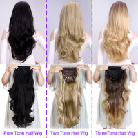 DinDong 24 Wavy 3/4 Ladies Half Wig Clip in Hair Extensions Hair Synthetic Brown Wigs with Comb on a Mesh Head Cap