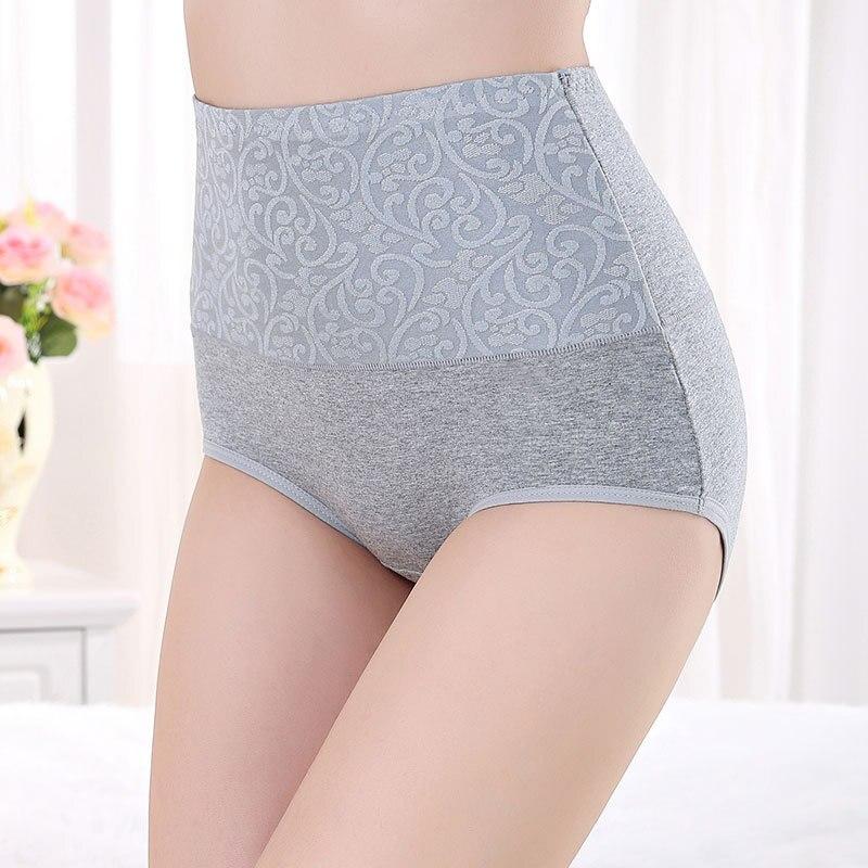 HW1 Cotton Underwear Women High Waist Large Size Briefs Underpants Female Breathable Knickers Intimates Women's Jacquard   Panties