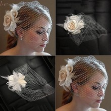 New Lace Elegant Women Fascinator Bride Wedding Hat Bridal Flower Headband Headpiece Accessories Decoration