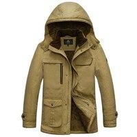 New Brand Hooded Men's Jacket Autumn WInter Warm Fleece Bomber Jacket Male Coats Military Army Denim Windbreaker Big Size