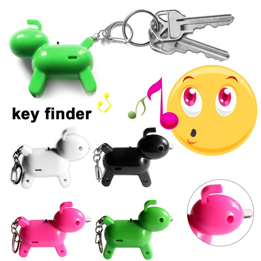 Whistle Key Finder Intelligent Voice Control Keychain Locator Cartoon Dog Keyfinder Anti-Lost Device