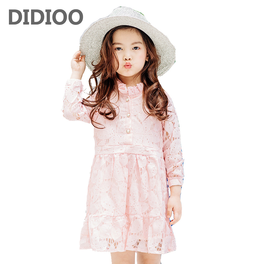 Lace Dresses for Girls Autumn Long Sleeve Solid Dress for Kids Vestidos Infantil Clothing Baby Princess Dress Child Cute Clothes belababy baby girls preppy style dress princess children autumn double breasted cute kids casual long sleeve dresses for girls