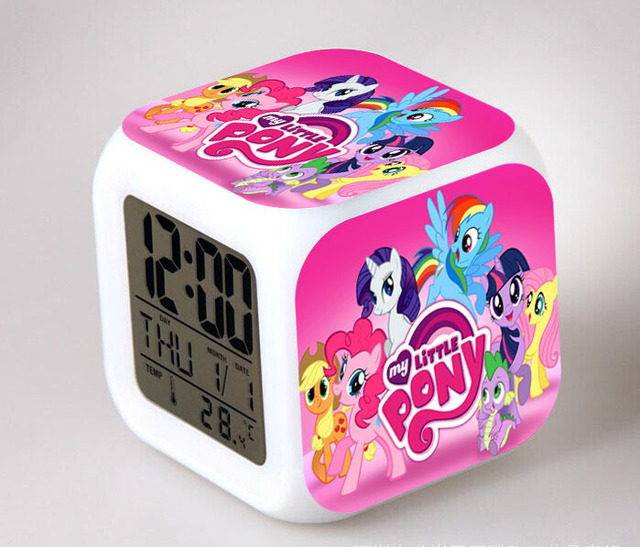 My Little Pony Night Light LED 7 Color Flash Changing Digital Alarm Clocks  Bedroom Wake Up
