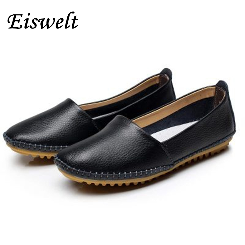 New 2017 Women Genuine Leather Shoes Women Flats Fashion Casual Women Shoes Slip On Women Loafer Flats Shoes Zapatos Mujer#SJL32 cresfimix zapatos women cute flat shoes lady spring and summer pu leather flats female casual soft comfortable slip on shoes
